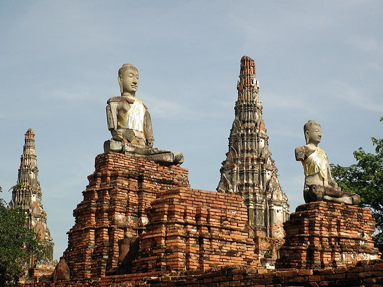 Buddha Images (on the platform in front of the main temple compound) . Wat Chai Wattanaram, Ayutthaya.