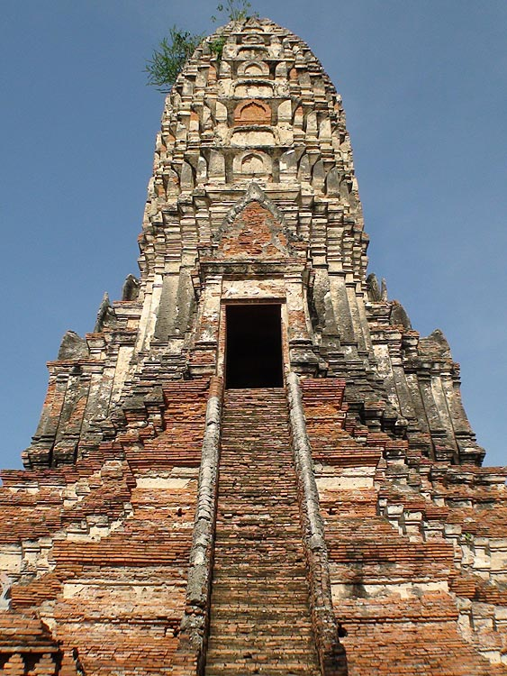 Close-Up of the centrally located main prang at Wat Chai Wattanaram, Ayutthaya