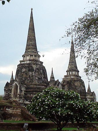 Two of the chedis at Wat Phra Sisanphet