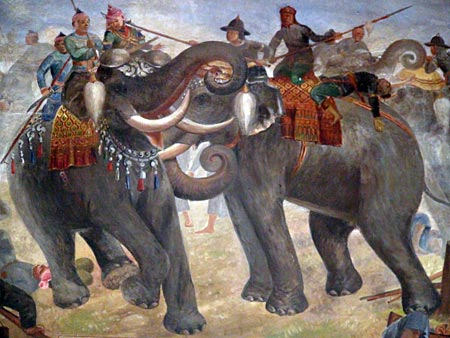 Battle scene between King Naresuan the Great and the Burmese army. Viharn of Wat Suwan Dararam.